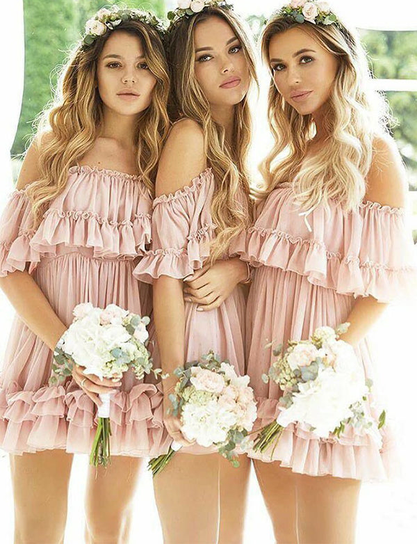 Pretty Off-the-Shoulder Pink Short Bridesmaid Dress with Sleeves Ruffles - ericprom
