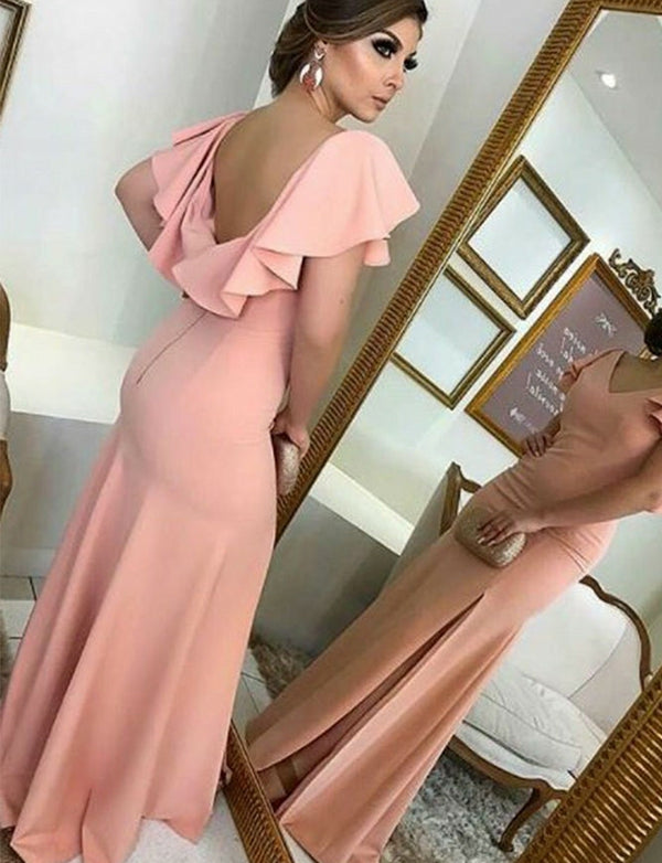 V-Neck Backless Pink Mermaid Bridesmaid Dress with Split Ruffles Sleeves - ericprom