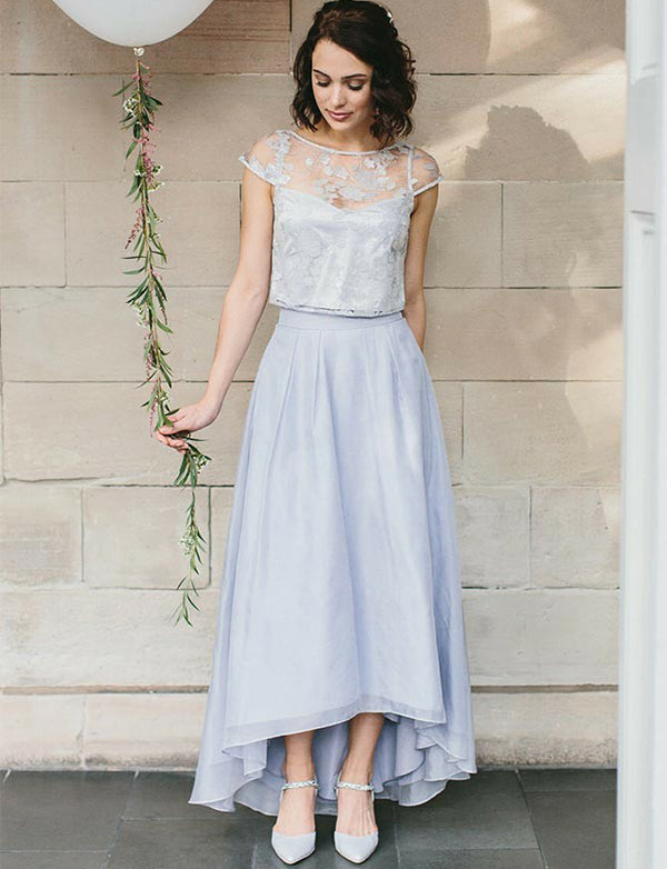 Two Piece Lavender Cap Sleeves High Low Bridesmaid Dress with Appliques - ericprom