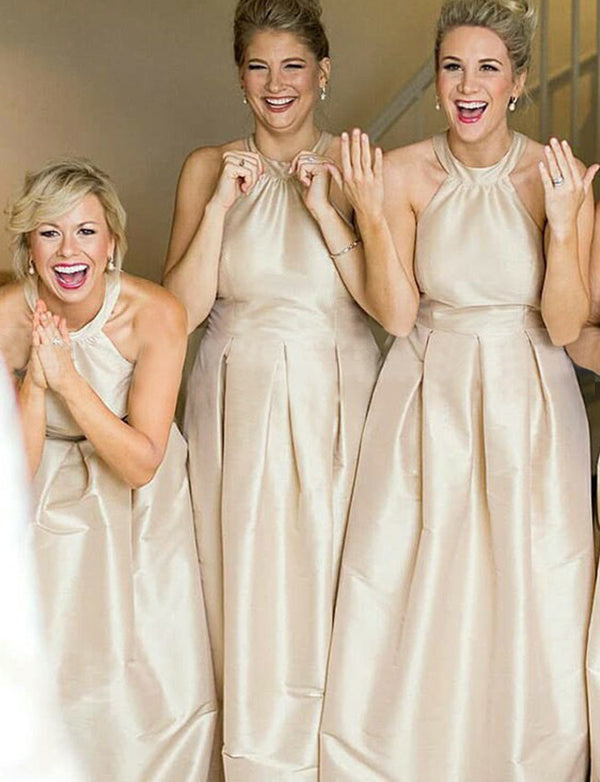 Popular A Line Halter Sleeveless Long Bridesmaid Dress Champagne Bridesmaid Dress - ericprom