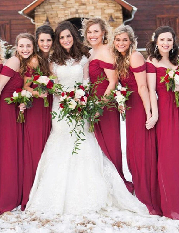 Charming A Line Off the Shoulder Chiffon Long Burgundy Bridesmaid Dress - ericprom