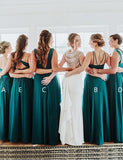 Mismatched A-Line Chiffon Turquoise Open Back Halter Long Bridesmaid Dress - ericprom