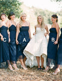 Mismatched Strapless Chiffon Long Navy Blue Bridesmaid Dress with Belt - ericprom