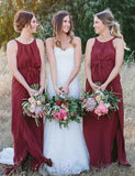 Pretty A-Line Crew Chiffon Long Maroon Bridesmaid Dress with Split Belt - ericprom