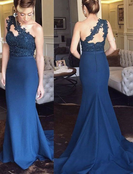 One Shoulder Mermaid Navy Blue Bridesmaid Dress with Appliques Beading