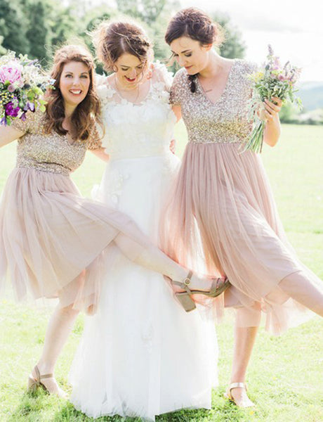 Short Bridesmaid Dress with Sleeves Sequin Champagne Wedding Party Dress