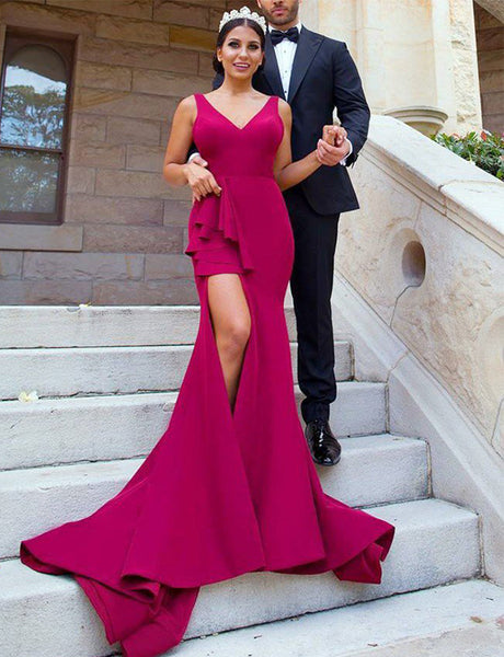 V-Neck Long Burgundy Bridesmaid Dress with Side Split Mermaid Prom Dress