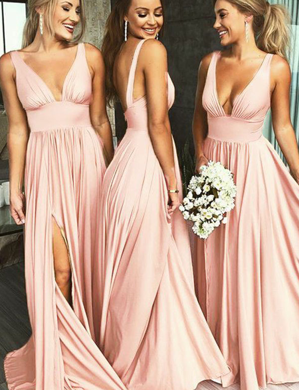 Popular Deep V-Neck Sleeveless Long Pink Bridesmaid Dress with Split - ericprom