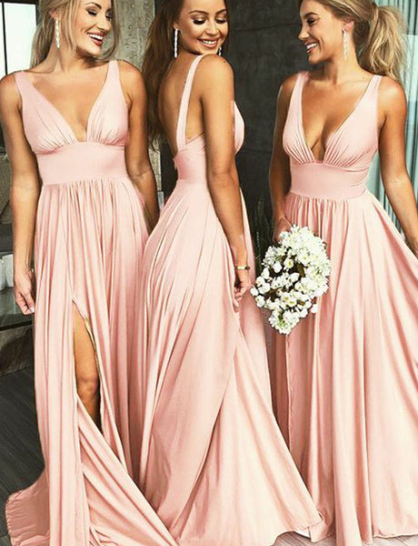 Popular Deep V-Neck Sleeveless Long Pink Bridesmaid Dress with Split