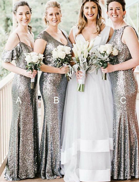 Elegant Sheath Long Mismatched Sequin Silver Bridesmaid Dress with Sleeves