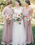 Simple Spaghetti Straps Chiffon Lilac Sleeveless Long Bridesmaid Dress - ericprom