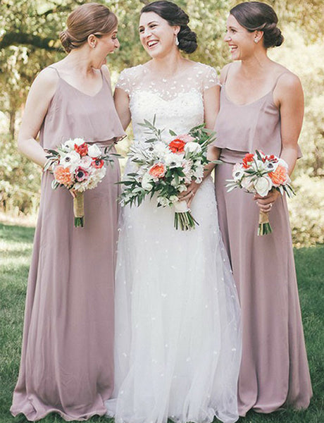 Simple Spaghetti Straps Chiffon Lilac Sleeveless Long Bridesmaid Dress