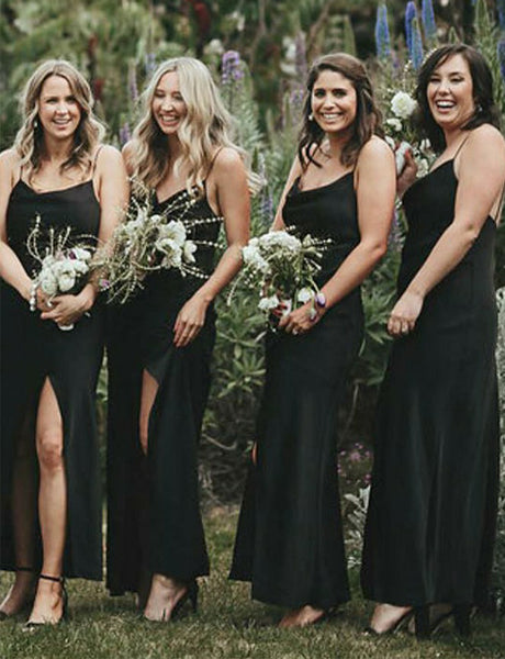 Simple Sheath Spaghetti Straps Long Black Bridesmaid Dress with Split
