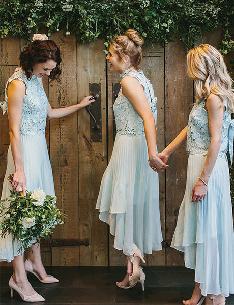 High Neck Open Back High Low Light Blue Bridesmaid Dress with Lace Bowknot