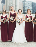 Hot Plus Size Straps Sleeveless Long  Open Back Burgundy Bridesmaid Dress - ericprom