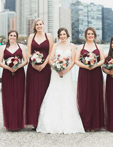 Hot Plus Size Straps Sleeveless Long  Open Back Burgundy Bridesmaid Dress