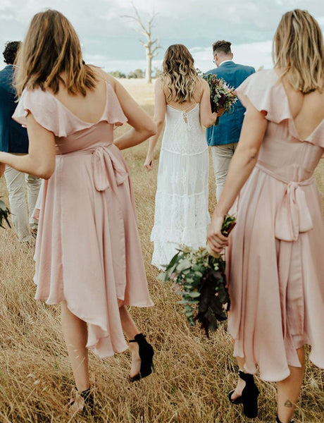 High Low V-Neck Pink Bridesmaid Dress with Belt Short Wedding Party Dress