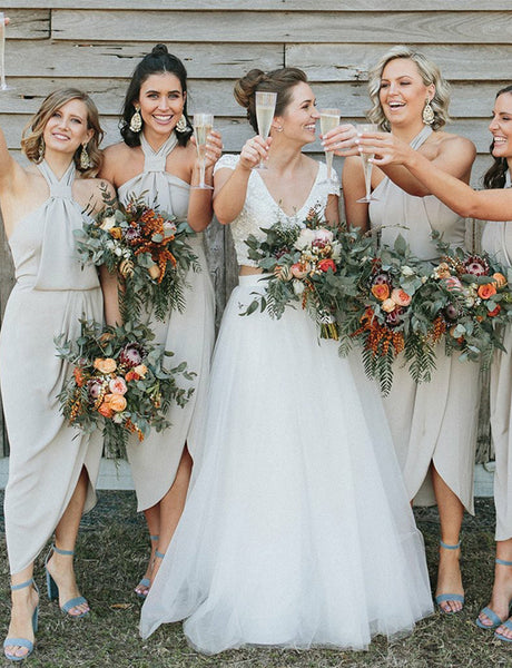 Sheath Halter Wedding Party Dress with Split Light Grey Bridesmaid Dress