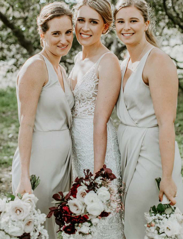 Sheath Light Grey Wedding Party Dress with Ruched Split V-Neck Bridesmaid Dress - ericprom