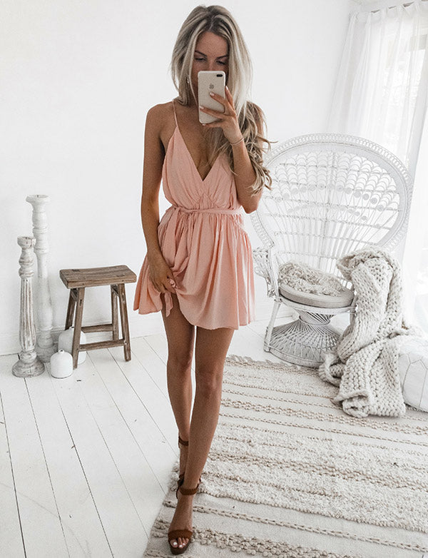 A-Line V-Neck Light Pink Homecoming Dresses with Pleats Mini Cocktail Dress - ericprom