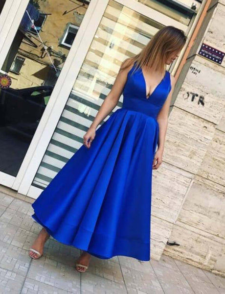Simple Deep V Neck Sleeveless Satin Ankle Length Royal Blue Prom Dress