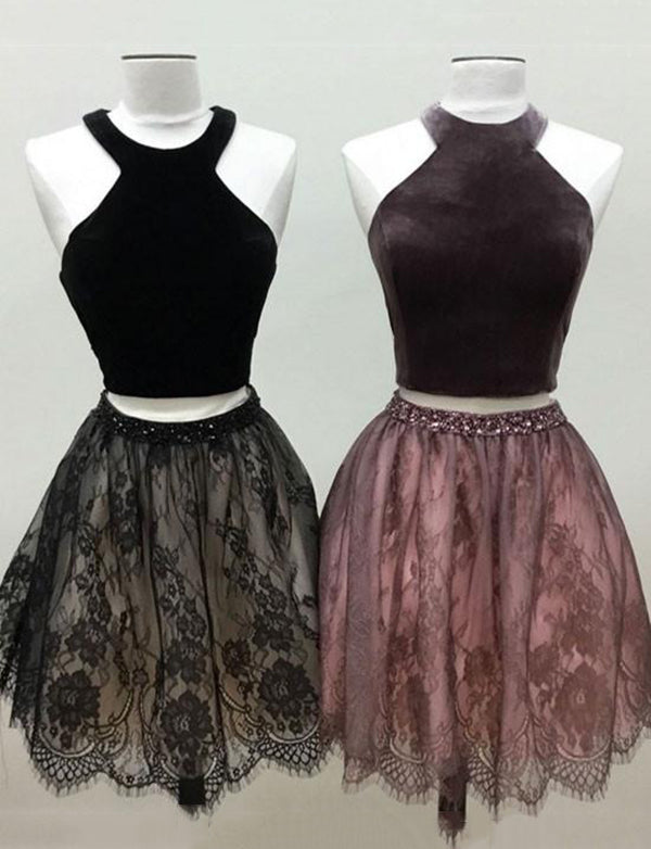 Sleeveless Short Halter Two Piece Homecoming Dress Lace Black Cocktail Dress - ericprom