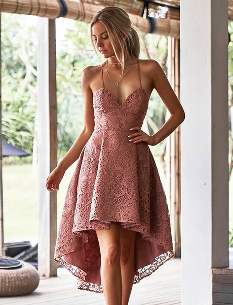 Charming Spaghetti Straps Pink Lace Prom Dress High Low Homecoming Dress