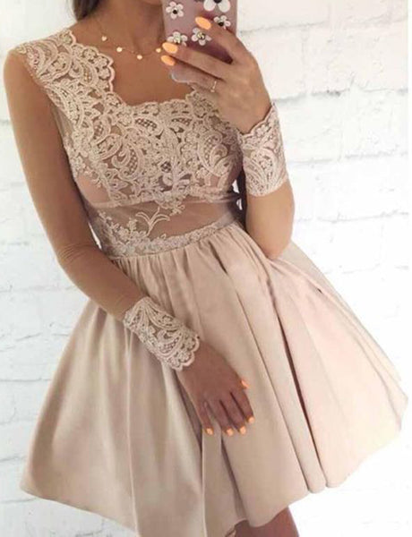 Square Champagne Homecoming Dress with Appliques Short Cocktail Dress