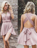 Sexy Criss Cross Straps Short Cocktail Dress Satin A Line Pink Homecoming Dress - ericprom