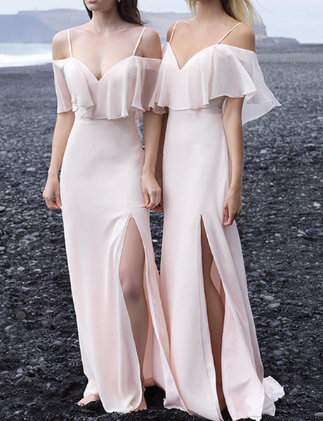 A Line Spaghetti Straps Chiffon Beach Pearl Pink Bridesmaid Dress with Split