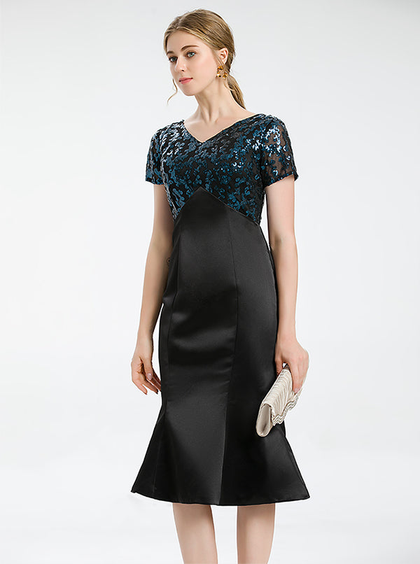 Dark Green Cocktail Dress With Sequined