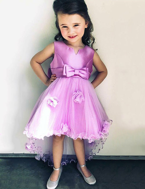 A Line Round Neck High Low Purple Flower Girl Dress with Bowknot Flowers - ericprom