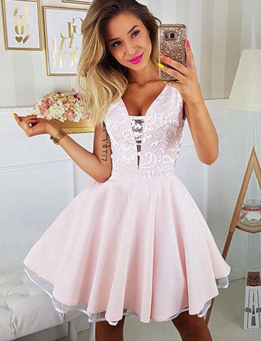 A Line V Neck Short Homecoming Dress with Appliques Sleeveless Pink Cocktail Dress