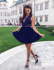 Fashion A Line V Neck Short Navy Blue Satin Homecoming Dress with Appliques