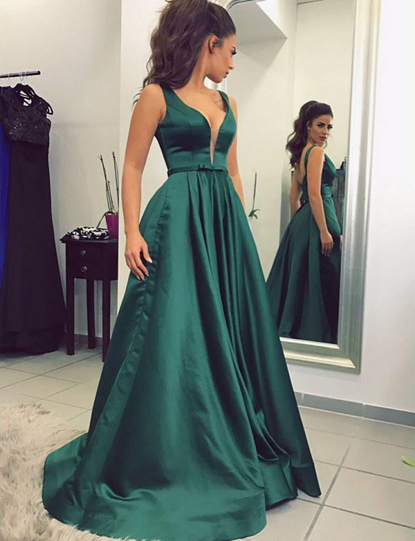 Fancy A-Line V-Neck Prom Dress Long Dark Green Evening Dress with Belt - ericprom