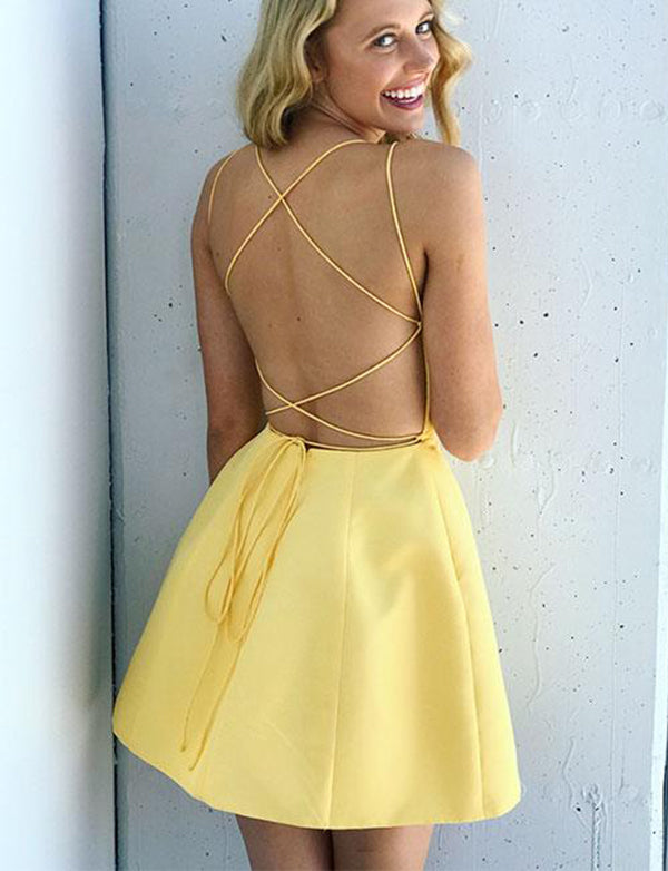 Sexy Spaghetti Straps Yellow Cocktail Dress Sleeveless Short Homecoming Dress - ericprom