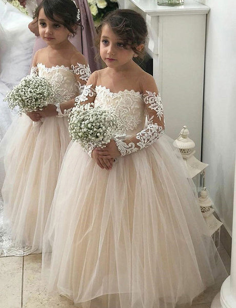 A Line Round Neck Pearl Pink Tulle Flower Girl Dress with Appliques