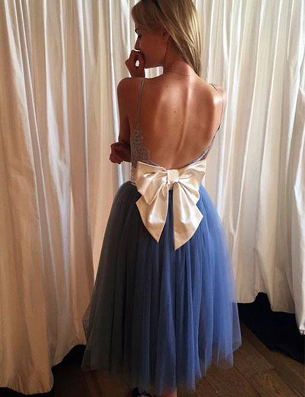 Pretty Blue Prom Dress Tulle Backless Homecoming Dress with Lace Bowknot