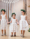 Cute A Line Spaghetti Straps Tea Length White Lace Flower Girl Dress - ericprom
