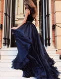 Deep V Neck Tulle Long Prom Dress with Beading Navy Blue Evening Gown - ericprom
