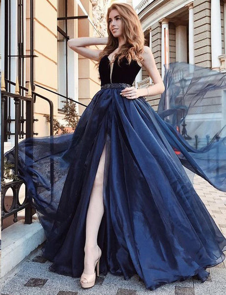 Deep V Neck Tulle Long Prom Dress with Beading Navy Blue Evening Gown