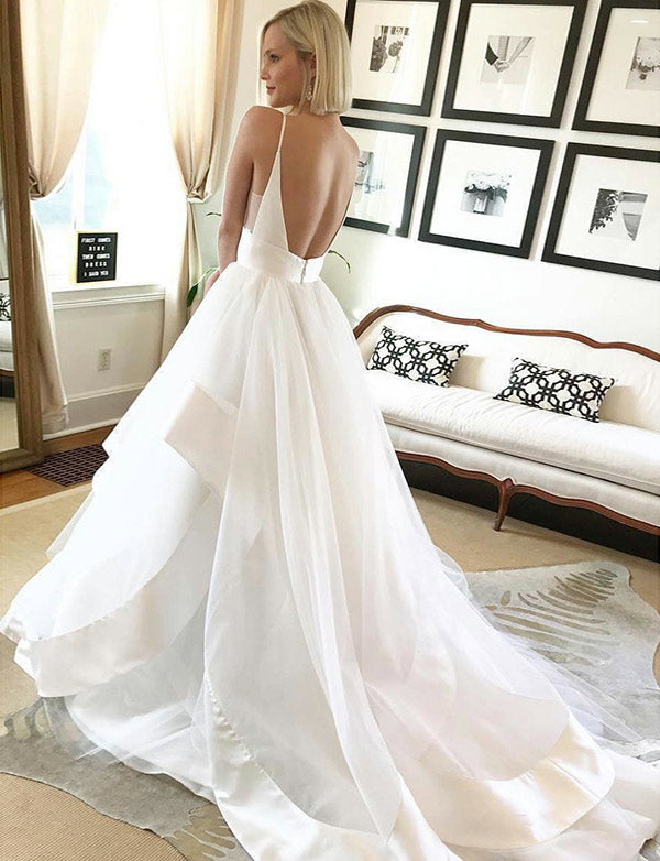 Spaghetti Straps Simple Wedidng Dress Tulle Simple Backless Bridal Gown - ericprom