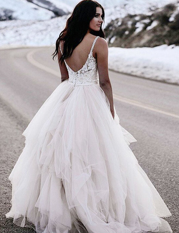Beautiful Spaghetti Straps White Tulle Long Backless Wedding Dress with Appliques - ericprom