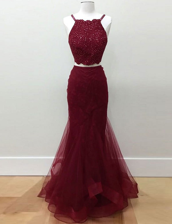 Two Piece Mermaid Tulle Halter Long Burgundy Prom Dresses with Beading - ericprom