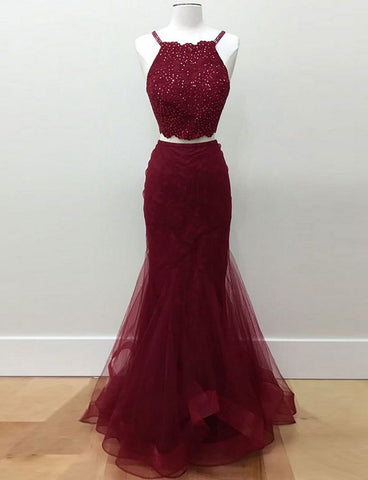 Two Piece Mermaid Tulle Halter Long Burgundy Prom Dresses with Beading