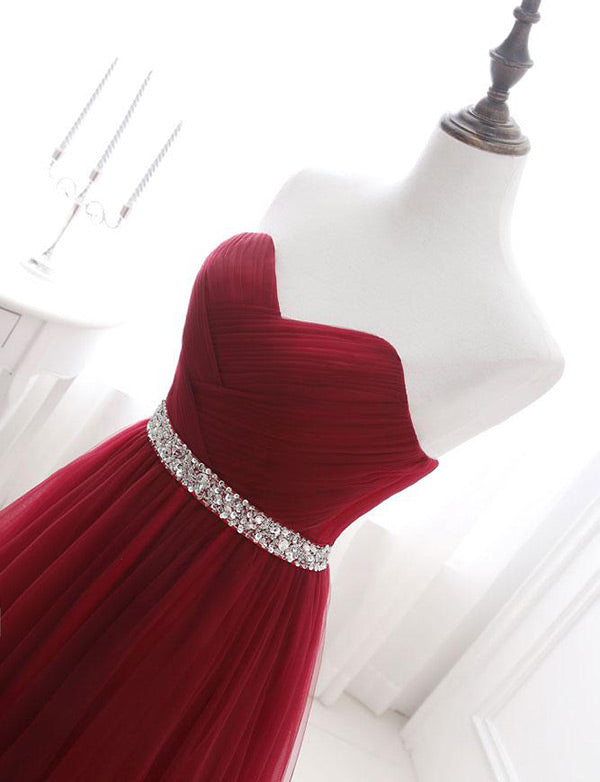 Top Sweetheart Tulle Burgundy Prom Dress with Beading Long Evening Dress - ericprom
