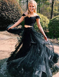 Popular Two Piece Off-the-Shoulder Short Sleeves Black Prom Dress with Appliques - ericprom