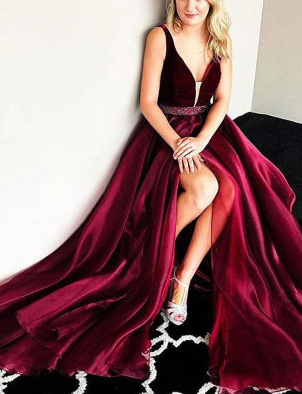 Hot Deep V-Neck Long Burgundy Prom Dress with Split Beading Evening Dress - ericprom