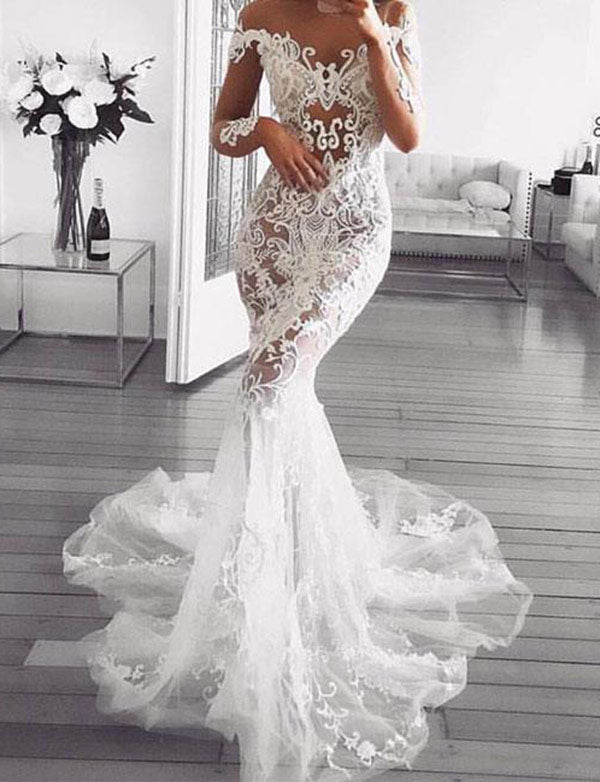 Romantic Off the Shoulder Mermaid Wedding Dress with Appliques Long Sleeves - ericprom
