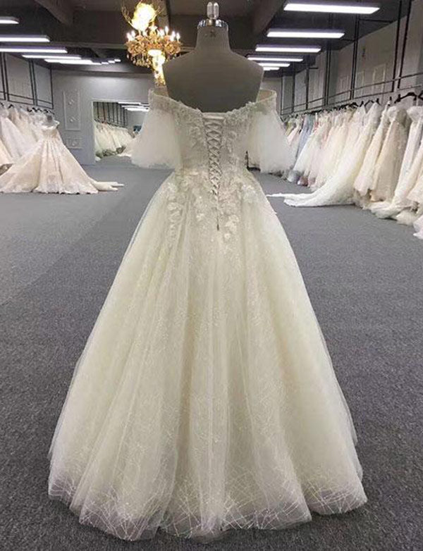 Off-the-Shoulder Half Sleeves Lace-up Wedding Dress with Appliques - ericprom